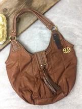 Marc Ecko Stevie Red Saddle Brown Pebble Leather Shoulder Bag Tassel Purse - $34.84