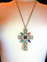 Cross Pendant Silver Tone Avon Vintage Large with Color Accents - $21.60
