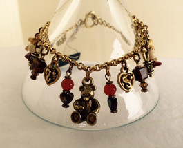 Vintage toggle teddy bear and heart charm bracelet - $21.00