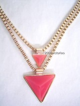 New 2B BEBE in Orange Gold Geometric Triangle Chain Necklace Neu Halskette - $16.00