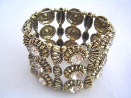 New 2B BEBE Antique Gold Crystals Stretch Bracelet Neu Armband - $16.00