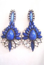 New 2B BEBE in Silver Blue Rhinestones Tear Drop Earrings Neu Ohrringe - $13.00