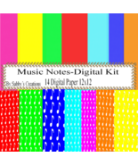 Music Notes Digital Kit-Digtial Paper-Art Clip-Gift Tag-Jewelry-T shirt-... - $1.99