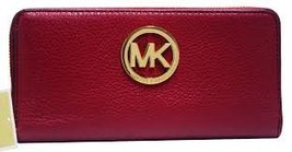 Michael Kors Fulton Merlot Continental Leather Wallet Bag - $175.22