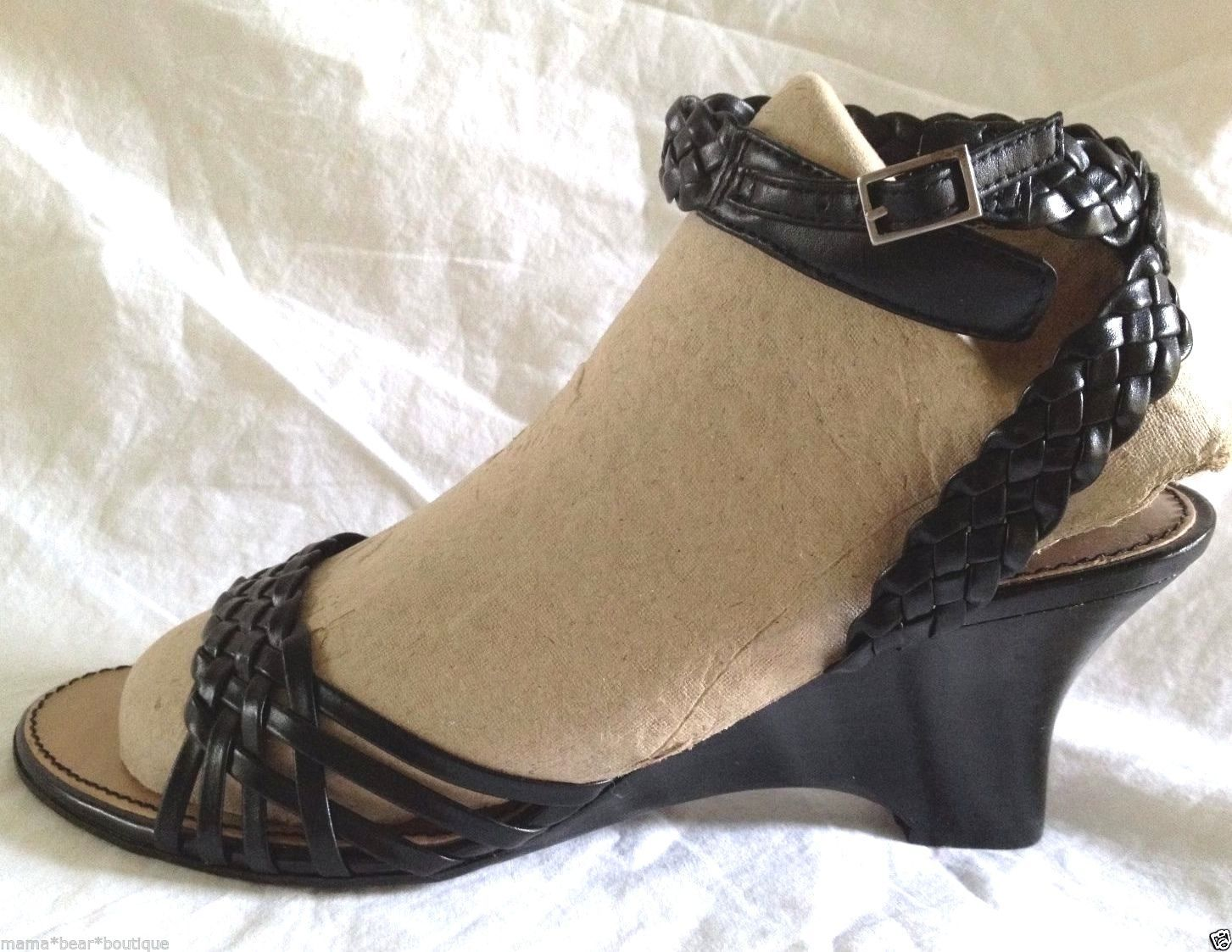 7aac314c00 Etienne Aigner Black Leather Wedge Sandals Women Size 7.5 - $29.69
