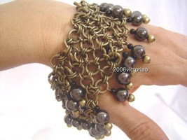 New BEBE Gun Gold Bauble Chainmail Stretch Bracelet Neu Armband - $29.00