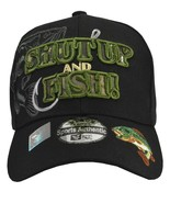 SHUT UP and FISH black hat Green embroidery with bass cap hat Fisherman giftbass - €10,95 EUR