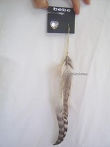 New BEBE Gray Brown Gold Feather Chain Earrings Stud Heart - $18.00