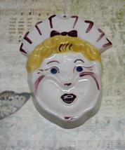 Vintage Kitsch Nurse Head SpoonRest / 1940s Retro Kitchen / Ceramic Wall... - $10.75