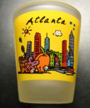 Atlanta Shot Glass Yellow Panels on Frosted Glass Stylized Cityscape and... - $6.99