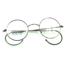 42mm Antique Vintage Metal Round Gray Wire Rim Eyeglasses Frame Spectacles Rx - $26.61