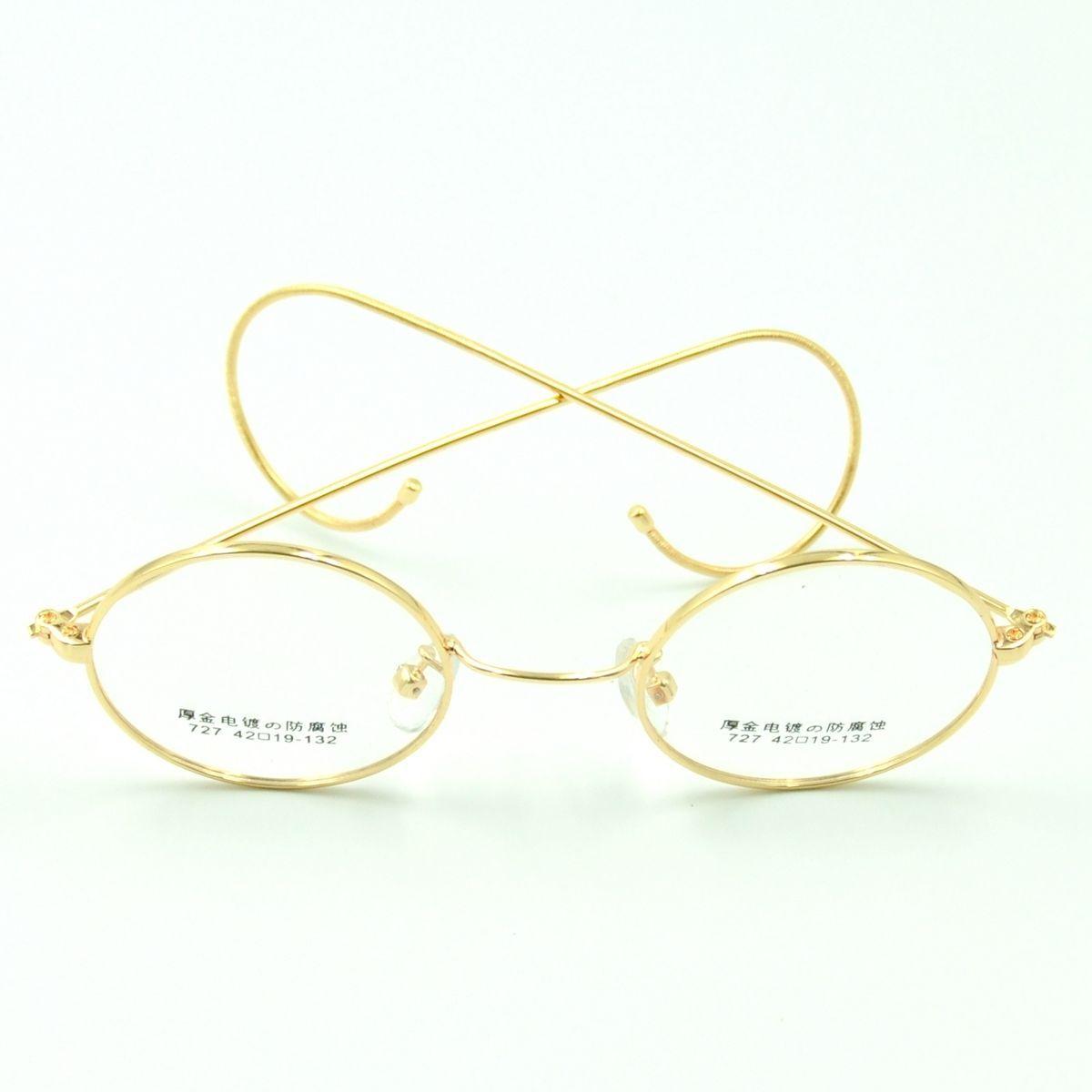 44mm antique vintage metal round gold wire rim eyeglasses