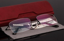 Vintage Mens Titanium Half Rimless Wire Oversized Eyeglass Frames Rx Spectacles - $47.49