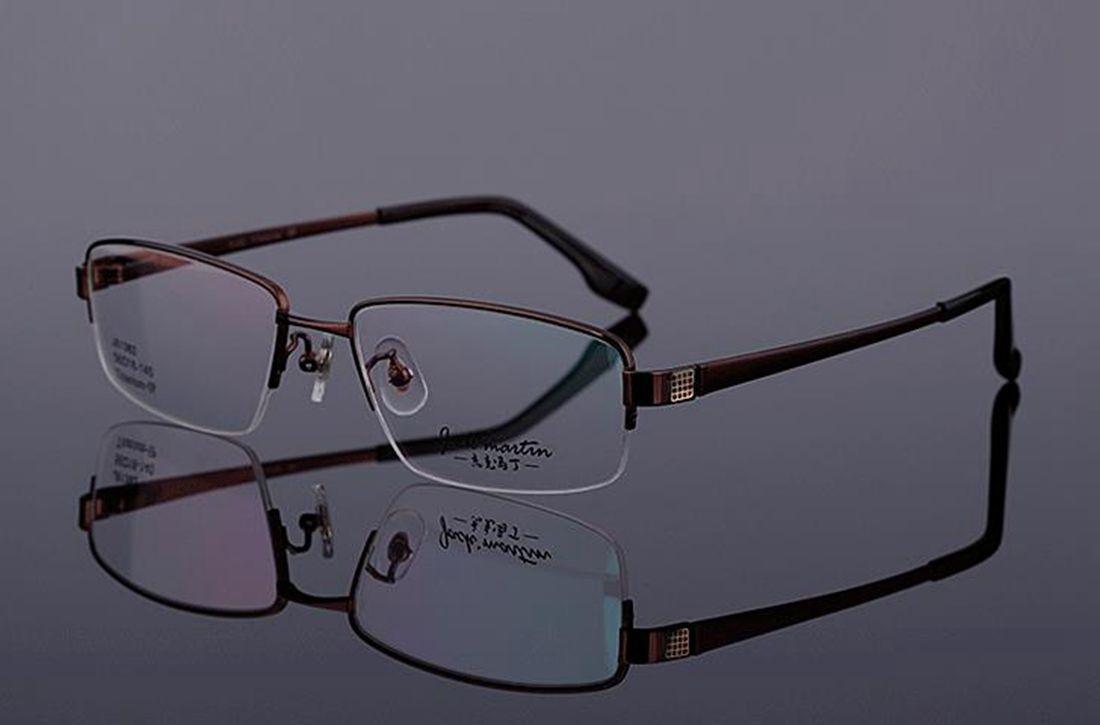 Mens 100% Pure Titanium Half Rimless Eyeglasses Frames Rx Spectacles Glasses image 3