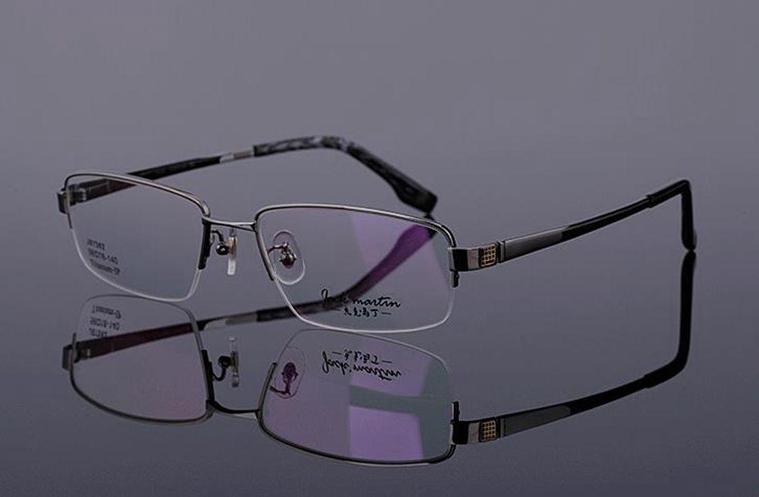 Mens 100% Pure Titanium Half Rimless Eyeglasses Frames Rx Spectacles Glasses image 6