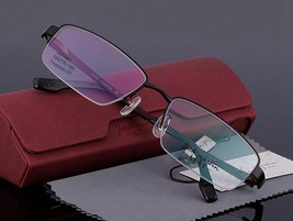 Mens 100% Pure Titanium Half Rimless Eyeglasses Frames Rx Spectacles Glasses image 10
