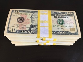 1.000 PROP MONEY REPLICA 10s All Full Print For Movie Video Films etc. image 6