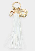 Women's White & Gold Knot Suede Leather Tassel Key Chain / Bag Charm Key... - €7,28 EUR