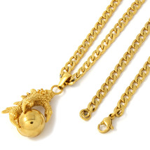 """Men Gold Tone Stainless Steel Eagle Claw Pendant 4mm 24"""" Cuban Necklace ... - £14.19 GBP"""