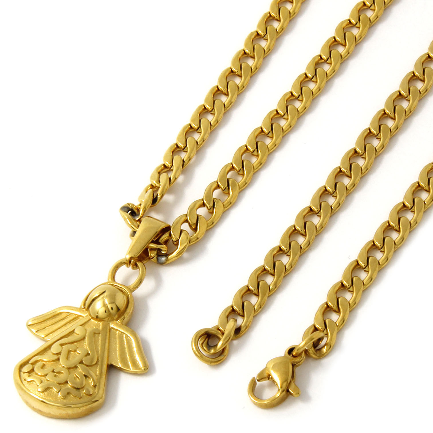 "Men Gold Tone Stainless Steel Triangle Angel Pendant 4mm24"" Cuban Necklace Chain"
