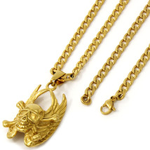 "Men Gold Tone Stainless Steel Wing Skull Pendant 4mm 24"" Cuban Necklace ... - $19.79"