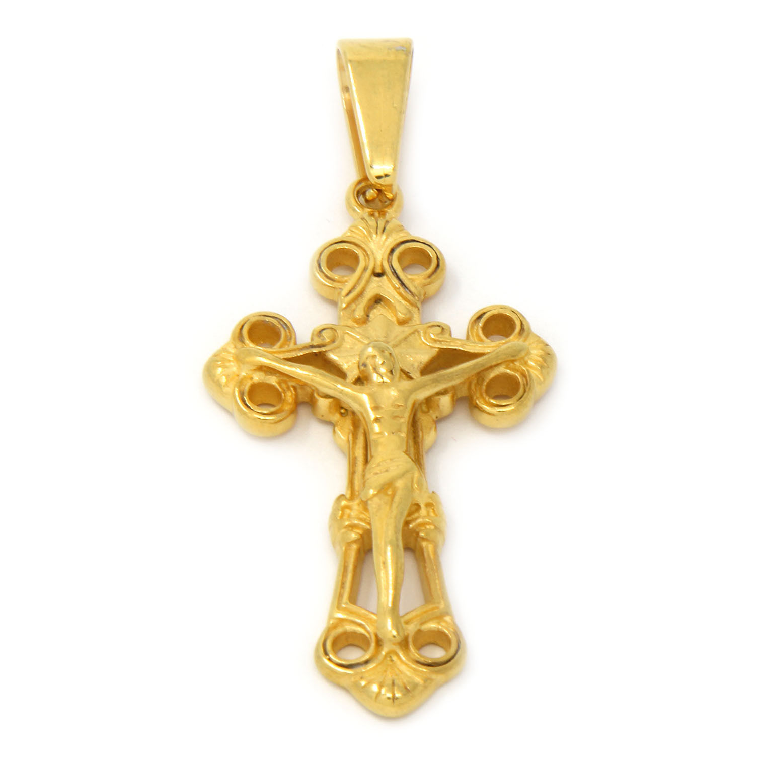 "Men Gold Tone Stainless Steel Clover Jesus Pendant 4mm 24"" Cuban Necklace Chain"