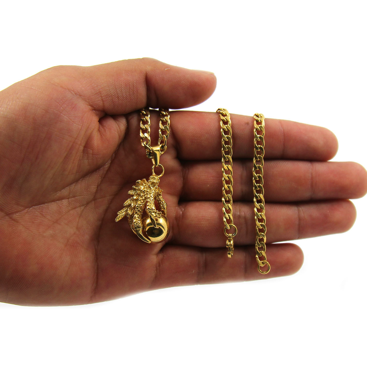 "Men Gold Tone Stainless Steel Eagle Claw Pendant 4mm 24"" Cuban Necklace Chain"