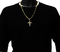 Cross Charm Gold Plated Piece Pendant Italian Figaro Chain Necklace Jewe... - £10.53 GBP