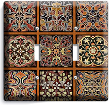 Tuscan Kitchen Tile Pattern Print Double Light Switch Wall Plate Cover Home Art - $10.79