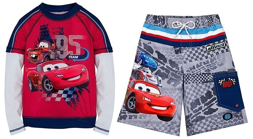 Disney Store Cars Lightning McQueen Swimsuit Trunks Rash Guard Boys SPF 50+