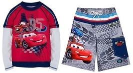 Disney Store Cars Lightning McQueen Swimsuit Trunks Rash Guard Boys SPF 50+ - $29.00