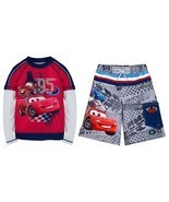 Disney Store Cars Lightning McQueen Swimsuit Trunks Rash Guard Boys SPF 50+ - $556,24 MXN