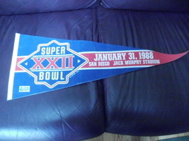 "Super Bowl XXII~January 31, 1988~San Diego Jack Murphy Stadium~30"" penna... - $21.95"