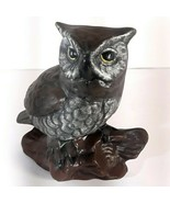 "Vtg Great Horned Owl Sculpture Figurine Porcelain 5"" Tall Taiwan Dark Brown - $13.95"