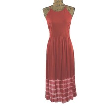 Ann Taylor LOFT Dress Med M Red White Tie Dye Keyhole Tie Back Midi WASH... - $16.95