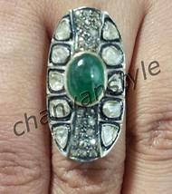 Victorian Insp. 3.25Ct Rose Cut/Polky Diamond 925 Silver Emerald Ring @C... - $9.109,16 MXN