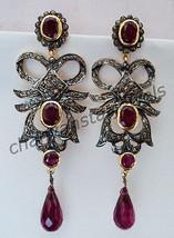 Victorian Inspire 2.40Ct Rose Cut Diamond Sterling Silver Ruby Earring @... - $7.536,36 MXN