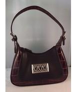 Handbag Purse Faux Leather Crocodile Brown & Black Western Metal Heart A... - $30.93