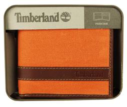 Timberland Men's Hunter Leather Waxed Canvas Credit Card ID Passcase Wallet image 8