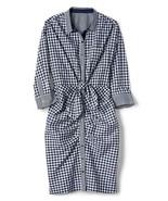 GAP Women Gingham Plaid Blue Tie 3/4 Sleeve Ruched Poplin Cotton Shirt D... - $39.59