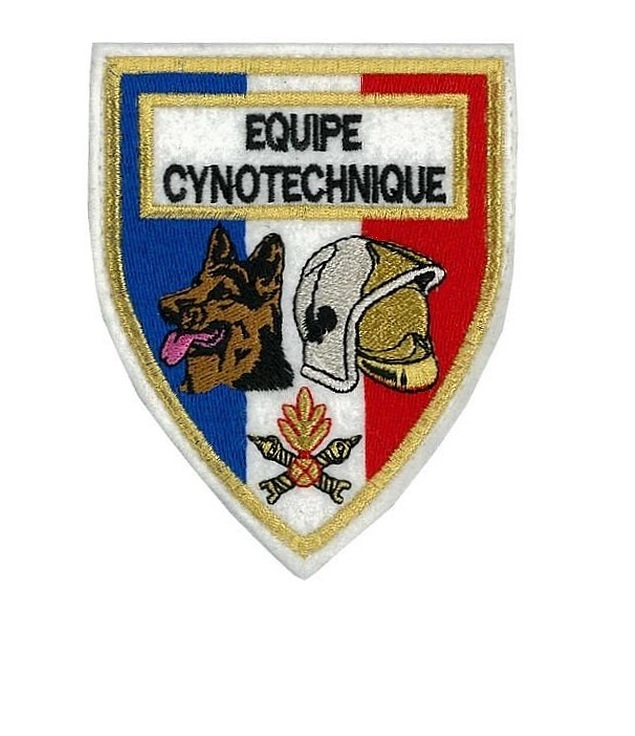 Pe cynotechnique french fire department k 9  tactical grey  large 4.25 x 4.5 in white felt 10.99