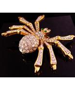 "HUGE Vintage spider brooch - 3 1/4"" rhinestone pin - insect bug -  figur... - $175.00"