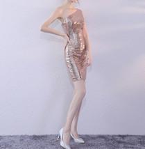 Rose Gold One Shoulder Short Sequin Dress Wedding Bridesmaid Short Sequin Dress image 4
