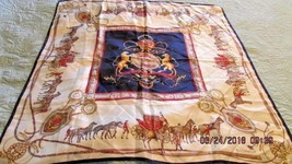 "Scarf ECHO 30"" Square Carriage Stagecoach Horses Crown Crest Whip Bridle - $8.59"