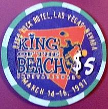 $5 Casino Chip. Hard Rock, Las Vegas, NV. King of the Beach 1997, LTD 5000.HR02. - $14.50