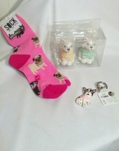 Lot 3 Pug Dog Collectibles Salt Pepper Shàkers Key Chain Women Socks Gif... - $20.89