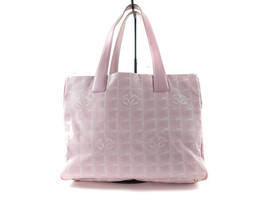 Auth CHANEL Travel line Canvas, Leather Pinks Tote Bag CT8537L - $210.00
