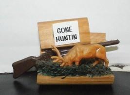 Vintage Gone Hunting Deer Elk Kitchen Refrigerator Locker Button Magnet - $5.94