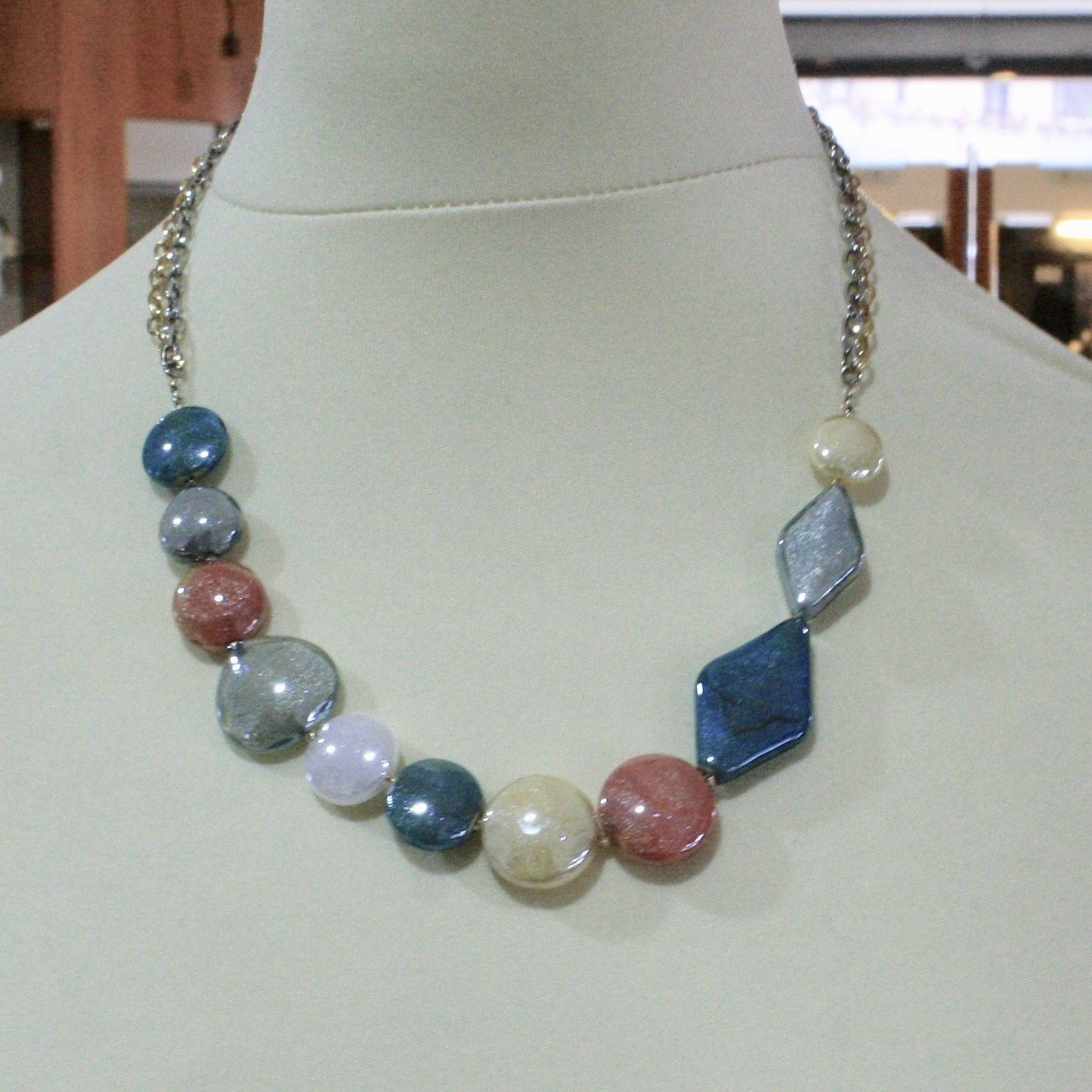 ANTICA MURRINA VENEZIA NECKLACE WITH MURANO GLASS YELLOW ORANGE BLUE COA86A19