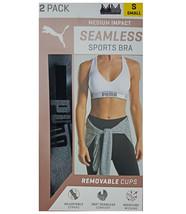 Puma 2 Pack Medium Impact Seamless Sports Bra, Black/Heather Grey (Size: S) - $26.99